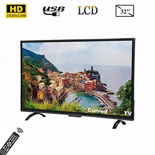 Tosuny Televisor de 32 Pulgadas, televisor Curvo Full HD de 32 Pulgadas con Pantalla panorámica Smart TV 1920x1200 con HDR, USB, HDMI, RF, Compatible con Salida de Video 4K y Control de Voz AI(UE)