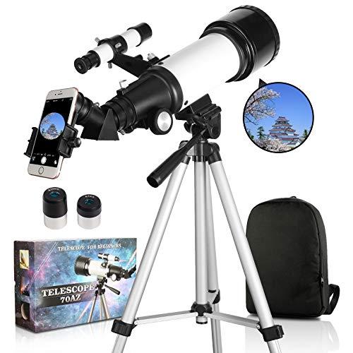 SOLOMARK 天体望遠鏡 子供 初心者 てんたいぼうえんきょう ぼうえんきょう 70mm大口径400mm焦点距離 望遠鏡 天体観測 初心者 ランキング 星座 スマホ撮影 正像天頂ミラー 軽量 伸縮式三脚 屈折式 スマホアダプター 日本語説明書