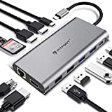USB C Hub, 12 Ports Docking Station, Triple-Display USB C Adapter mit Triple 4K-HDMI,Typ C PD,4 USB Ports,Gigablit Ethernet RJ45,SD/TF Kartenleser Kompatibel MacBook Pro/Air und Mehr Typ C Geräte