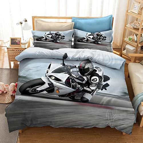 NHBTGH Funda nórdica Estampada Motocicleta 240x220 cm Conjunto de Ropa de Cama de Poliéster de 3 Piezas + 2 Fundas De Almohada, para Todo el Mundo Adultos y Adolescentes