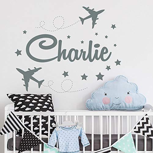 Calcomanía personalizada para pared con nombre de niño, diseño de avión y niños, decoración de habitación de niños, decoración de habitación de niños
