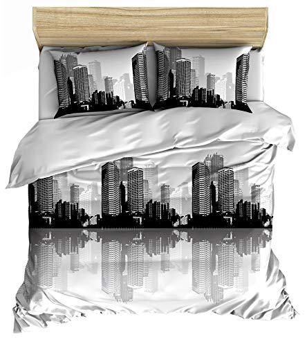 Lemur Textilien City - Juego de funda nórdica de 140 x 200 cm y 1 funda de almohada de 65 x 65 cm, 100% algodón