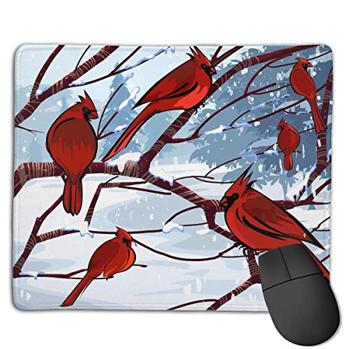 Gaming-Mauspad, Mauspads Cardinal Birds Winter Drawing Rectangle Rubber Mousepad Gaming Mouse Pad 9.8x12 Inch for Notebooks,Desktop Computers