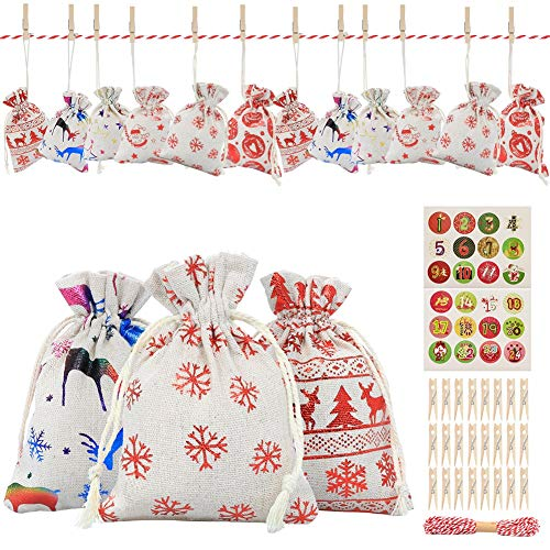 Parkyeon Advent Calendar Bags, 24 Days Christmas Burlap Hanging Advent Calendars Garland Candy Gift Bags Sacks DIY Xmas Countdown Decorations