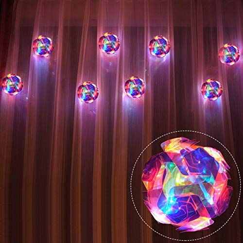 LED Curtain Lights Plug in, 4.7m x 0.6m 8pcs Rose Ball Fairy Window Light Commercial Grade, IP44 Indoor/Outdoor Flower Decorative String Lights for Wedding, Anniversary, Festival, Gerden, Pink