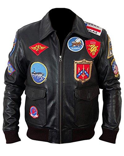 Chaqueta de piel de Classyak, diseño Top Gun, para hombre Negro Sheep Black XXXL-Para Pecho 121,92 cm-127,00 cm