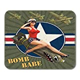 Gaming Mouse Pad Military Vintage con Pin Up Girl On Bomb Retro American War Bomber Plane Missile 25...