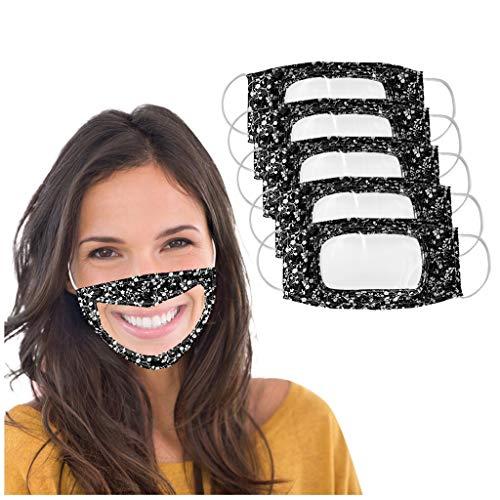 Jamicy 5 Stück Lippen Mundschutz mit Transparente Face Cover Mundschutz, PVC Mundschutz gesichtsschutz Waschbar Staub Mundschutz für Gehörlose