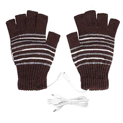 Guantes Guantes USB eléctrica calienta invierno térmica media del dedo con dedo de la cubierta completa recargable for los guantes de...