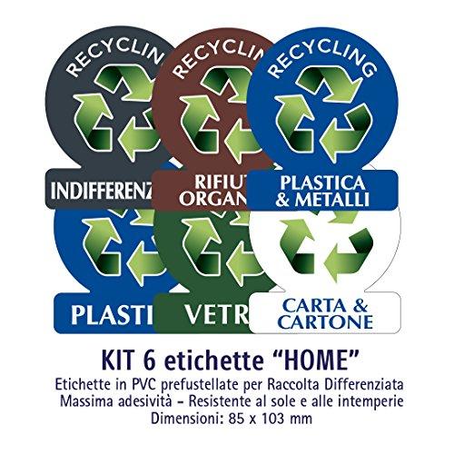 ATK - Etichette autoadesive in PVC per la gestione dei rifiuti - KIT HOME (PICCOLO) - 6 etichette assortite 85x103 mm