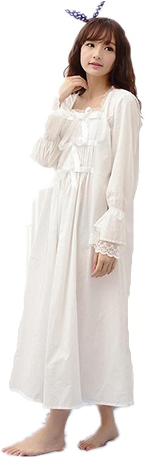 DMMSS Cotton Nightdress Ladies Long Sleeve Solid color Skirt Bow Pyjamas