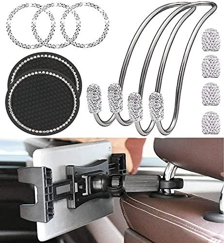VINOK Soporte de reposacabezas para tablet de 4,7 a 12,9 pulgadas, accesorio de cristal interior para mujeres, con gancho para coche, tapones de válvula de diamante, anillo de encendido