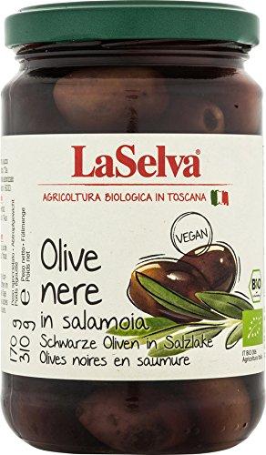 La Selva Bio Dunkle Oliven in Salzlake mit Stein (6 x 310 gr)