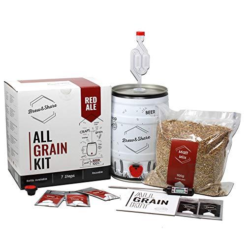 Brew & Share | Kit de bière Red Ale | Votre bière en 2 semaines. Élaboration avec des malts. Fermentation en fût. Matériaux réutilisables.