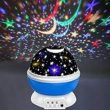 CICIBER Proyector de cielo estrellado, luz nocturna LED, rotación de 360°, con 8 luces de colores, lámpara infantil para bebés, habitación de los niños, Navidad, fiesta, color azul