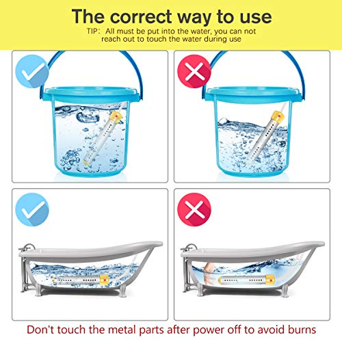 CAMTOA Immersion Heater, Electric Submersible Instant Water Heater with Metal Guard Cover Portable Bucket Heater to Heat 5 Gallons of Water in Minutes for Bathtub,Inflatable Pool