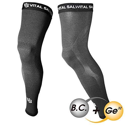 Vital Salveo - Carbone di bambù. Germanium Recovery Compression Outdoor Full Length Leg Knee Coscia Basketball Sleeve - Grigio Scuro (1 Paio)