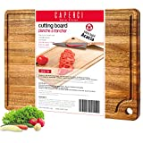 Large Acacia Wood Cutting Board for Kitchen - Caperci Better Chopping Board with Juice Groove &...