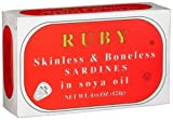 Ruby Skinless and Boneless Sardines In Soya Oil, 4 3/8-Ounce Tins (4 Pack) Kosher, Pull Top Can.