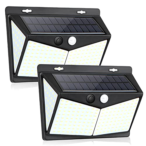 Solarlampen für Außen mit Bewegungsmelde, unibelin 208 LED 270° solar Bewegungsmelder Aussen, 3 Modi Wasserdichte Wandleuchte Beleuchtung Aussenleuchte Sicherheitslampe für Garten ( 2 Stück )