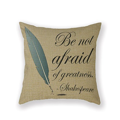 Customized Standard New Arrival Pillowcase Reading For Book Lover Greatness Shakespeare Throw Pillow 20 X 20 Square Cotton Linen Pillowcase Cover Cushion