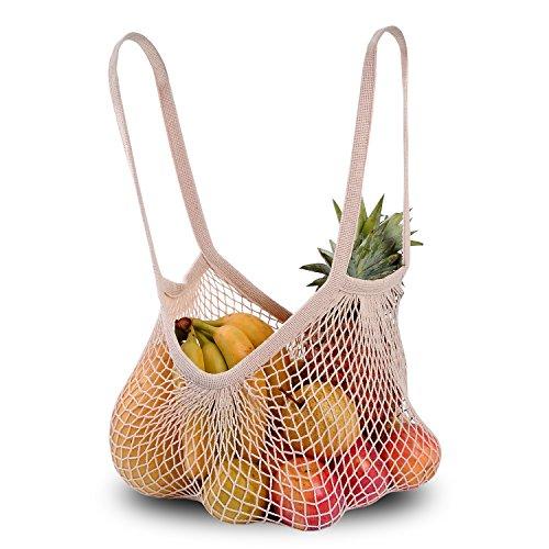 Dimiday Coton Net Cabas du marché de l'Écologie à cordes Sac Organiser-for courses, plage et stockage, DE Fruits, DE Légumes et jouets Large-Size(Long Handle) naturel
