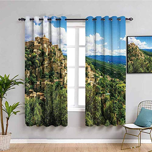 Wanderlust Decor Collection Closet curtain Masks for Carnival Fancy Dress Centuries Old Tradition Venice Design Indoor curtain Green Ivory Blue W52 x L63 Inch