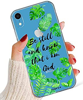 iPhone Xs Max Case,Normcore Women Girls Girly Tropical Leaves Banana Leaf Bible Verse Psalm 46 10 Be Still and Know That I Am God Poweful Soft TPU Case for Apple iPhone Xs Max