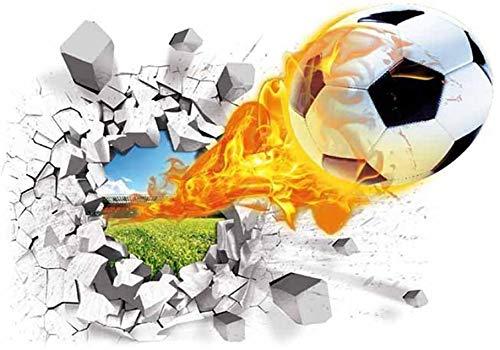 GoGoVolt Vinilo Adhesivo 3D. Pelota de Futbol en Llamas con Efecto Roto. Sticker de PVC Impermeable para la Pared. Decoración Juvenil