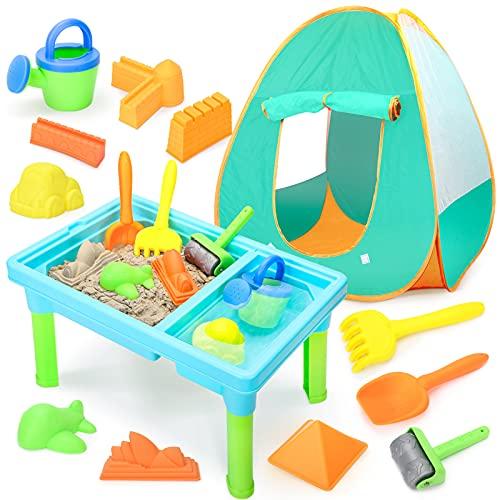 Table Sable et Eau avec Tente Enfant Bac à Sable pour avec Modèles de Sable, Jouets Exterieur pour Enfant Garçon Fille 3 Ans 13 PCS