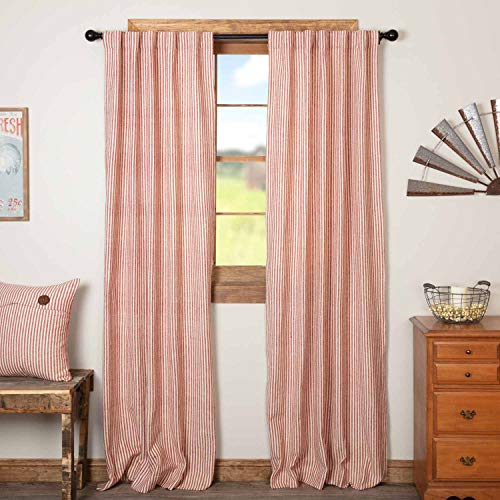 """Homespun Red Ticking Panel Curtains, Set of 2, 84"""" Long, Primitive, Country, Farmhouse Style Window Drapes"""