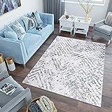 Tapiso Sky Alfombra de Salón Comedor Dormitorio Juvenil Diseño Moderno Gris Crema Vintage Zigzags...