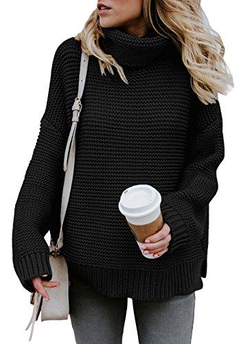 Aleumdr Strickpullover Damen Rollkragen Grobstrick Strickpulli Pullover Winterpullover Freizeit Sweater grau schwarz Elegante Langarm S