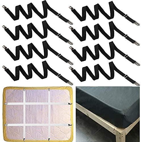 jiuyao Se extiende de 53.8 cm a 220.00 cm, ajustable debajo del sofá, colchón, sábana bajera ajustable, apto para todos los colchones cuadrados (blanco) (8 piezas de negro)