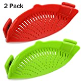Snap Strainer, 2 PACK Silicone Food Strainers Heat Resistant Clip On Strain Strainer Rice Colander Kitchen Gadgets Drainer Hands-Free For Pasta, Spaghetti, Ground Beef, Universal Fit All Pots Bowls