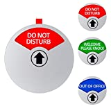 Kichwit Privacy Sign, Do Not Disturb Sign, Out of Office Sign, Welcome Please Knock Sign, Office Sign, 5 Inch, Silver
