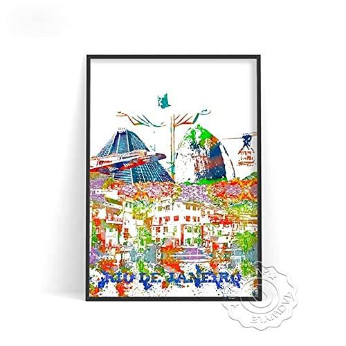 linbindeshoop Color World City Poster York Paris Moscow Wall Art Dubai Roma Wall Stickers San Francisco Rio De Janeiro Travel Poster(LT-388) 50x70cm No frame
