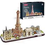 Puzzle 3D LED París Cityline Maquetas para Construir Adultos Puzzles en 3D Kits de Construcción de Iluminación para Niños 8+, Torre Eiffel, Notre Dame de París, El Louvre 50.2 * 12.3 * 33