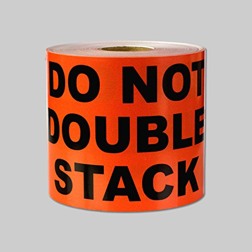 """DO NOT Double Stack Warning Labels Self Adhesive Stickers (Orange Black / 5"""" x 3"""") - 300 Labels per Package"""