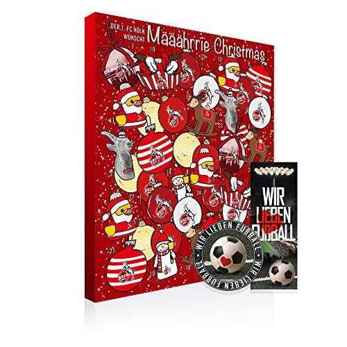 Adventskalender, Weihnachtskalender deines Bundesliga Lieblingsvereins - Plus gratis Sticker & Lesezeichen Wir Lieben Fußball (1. FC Köln Premium)