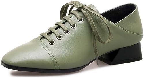 Chaussures à Bout fermé mi-Talon pour Femmes Confortable Cross Straps Simples Chaussures Noir Vert Taille 34-39