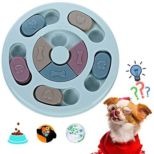 QOSE Hundespielzeug Intelligenz Dog Puzzle Treat Dispenser, Interaktives Fütterungs Spielzeug, Anti-Rutsch-Puzzle-Spielzeug, Hund Puzzle Feeder Spielzeug, Verbesserung des IQ, Langsames Füttern(Blau)