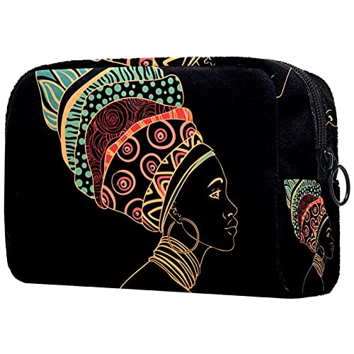Bolso de Cosméticos Bolsa de Maquillaje con Cierre de Cremallera, Retrato, de, Mujer Africana, con, Pendiente