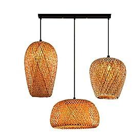 Lampe à Suspension bois vintage rotin lampe de table à manger rétro industriel Lampe suspendue 3 Lumières abat-jour…