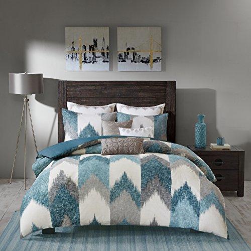 INK+IVY Alpine King/Cal King Size Bed Comforter Set - Aqua, Grey, Ivory, Pieced Chevron – 3 Pieces Bedding Sets – 100% Cotton Bedroom Comforters