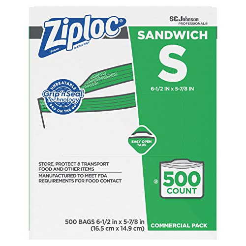 SC Johnson Professional ZIPLOC Sandwich Bags Easy Open Tabs 500 Count