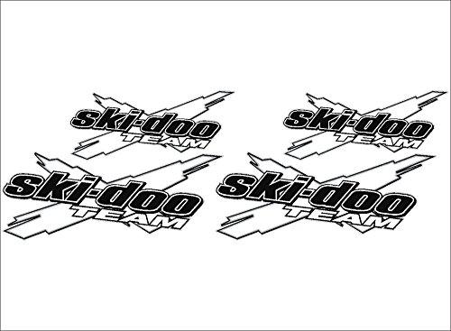 SKI-DOO Team 3DX / WHITE / 4 PACK Vinyl Vehicle Snowmobile Power Sports Graphic Sticker Decals