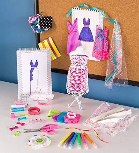 "HearthSong All-Inclusive 50-Piece Fashion Design Studio Sewing Kit for Kids with 12""H Mannequin, Drawing Paper, Fabric, Trim, and Accessories Photo #7"