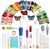 Punch Needle Embroidery Kit Full Set with Magic Embroidery Pen, Cloth, 100 Color Threads for DIY Sewing Embroidery Cross Stitch Pattern Knitting Craft Tool