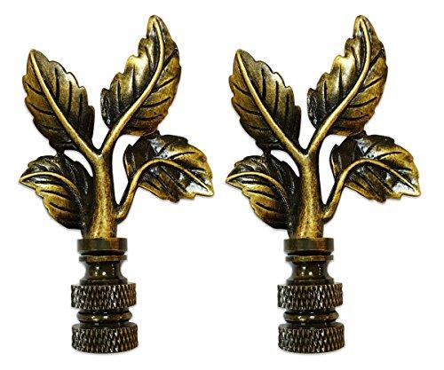 Royal Designs Elegant Leaves Lamp Finial for Lamp Shade- Antique Brass Set of 2